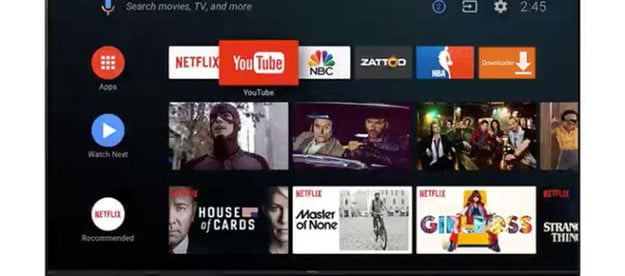 Android TV home screen view.