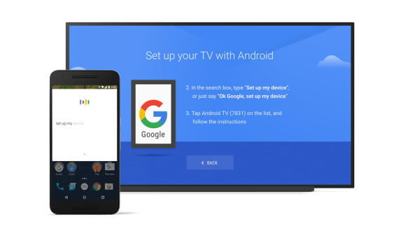 Setting up Android TV instructions with phone and TV.