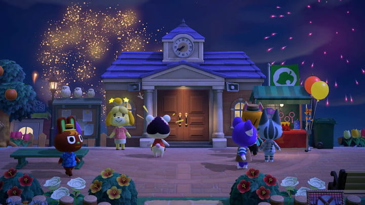 Villagers gather by the Town Hall in Animal Crossing.