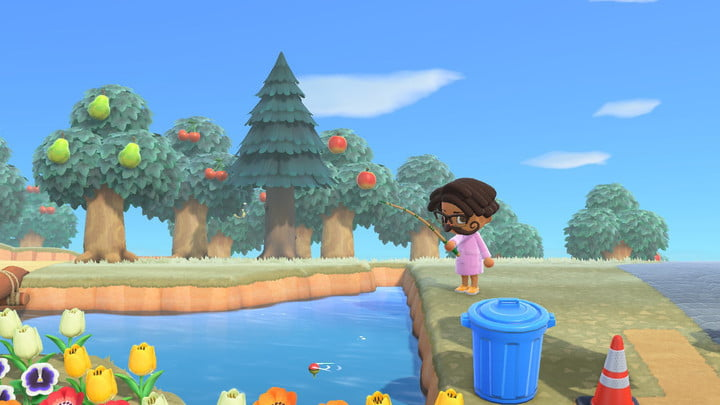 Fireworks going off above the town hall in animal crossing.