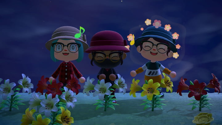 Three characters in a field of flowers.