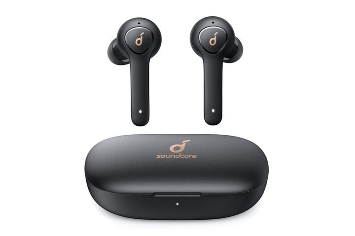 Anker Soundcore Life P2 true wireless earbuds with wireless charging case.