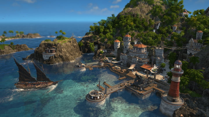 City by the sea in Anno 1800.