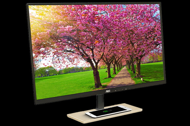 aoc p2779vc display desktop qi wireless charging included monitor