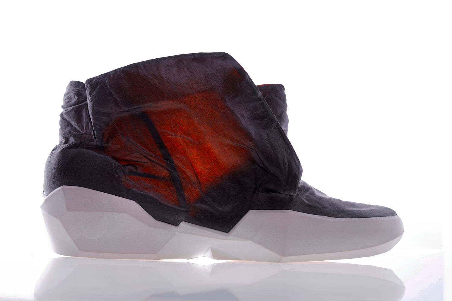 colorful transparent leather cowskin ecco apparition  boot amber side glow