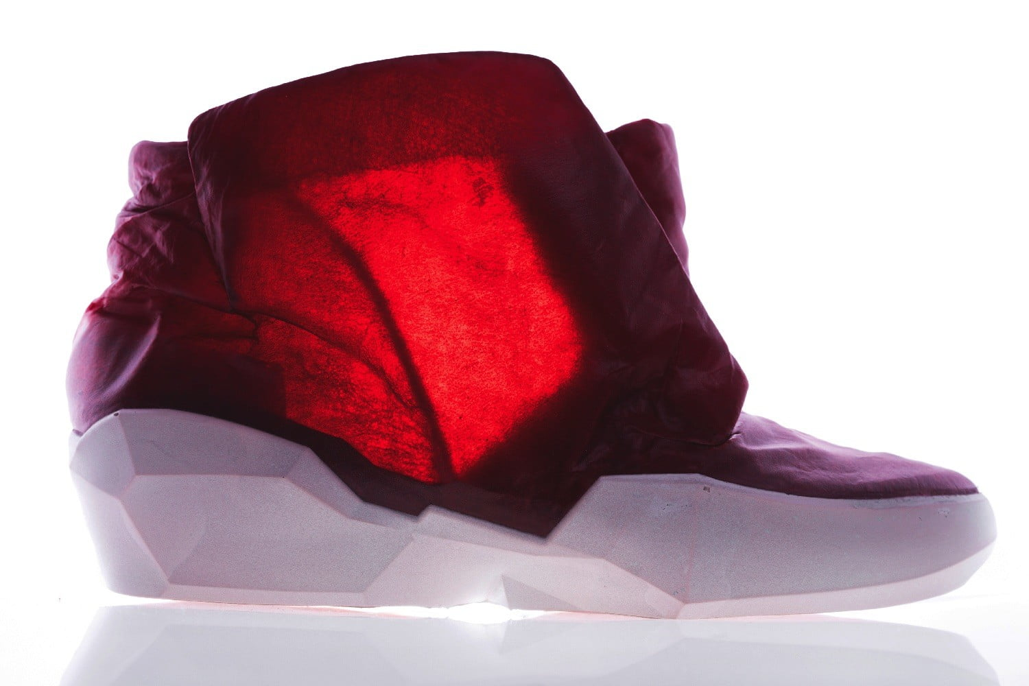 colorful transparent leather cowskin ecco apparition boot blood red side glow
