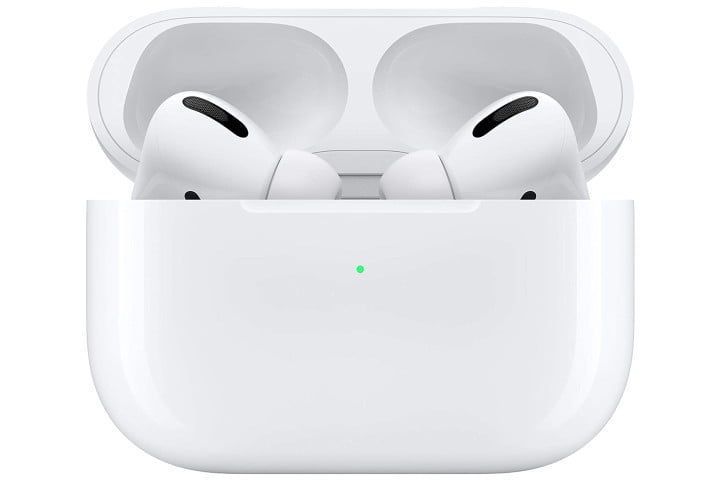 Apple's Airpods Pro inside their wireless charging case.