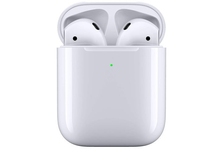 Apple's second-generation AirPods in their wireless charging case.