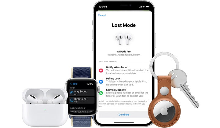 Lost Mode on an iPhone with Apple devices around it.