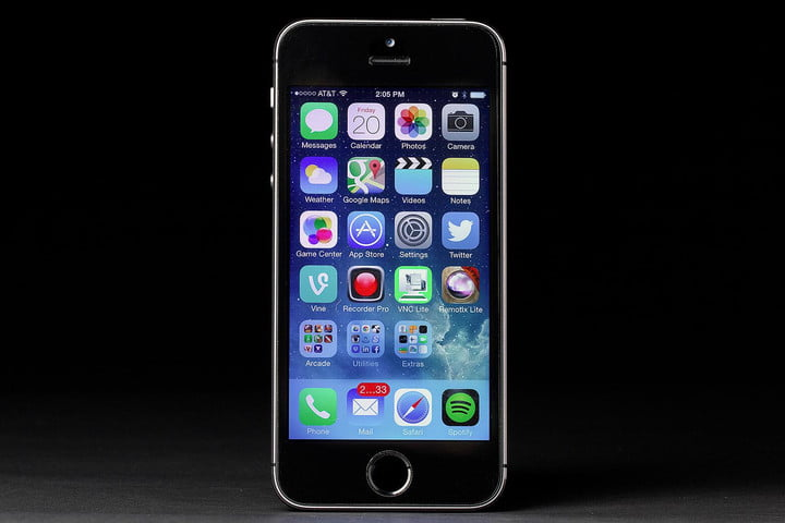 apple iphone 5s screen front ios 7