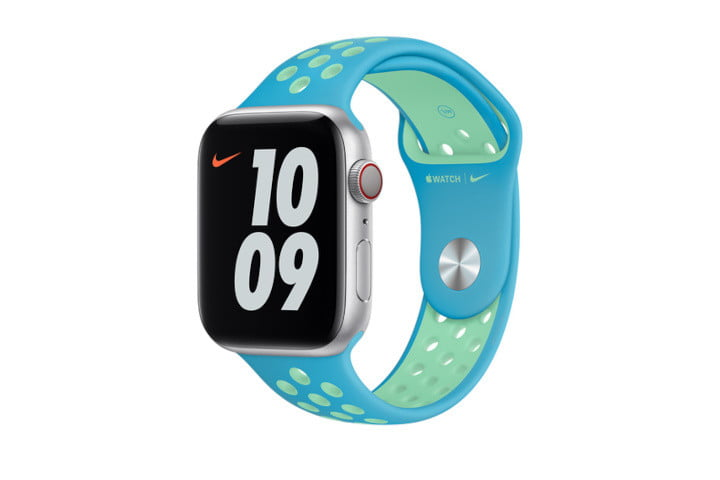 The Chlorine Blue/Green Glow Nike Sport Band product image.