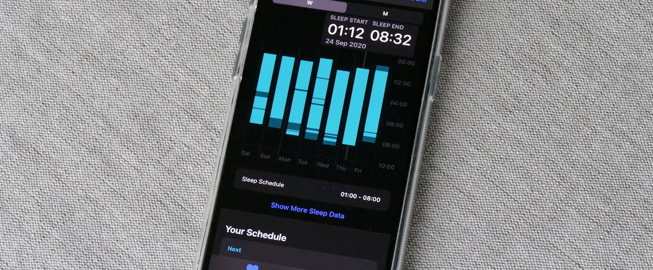 An iPhone with sleep measurements showing on the display.