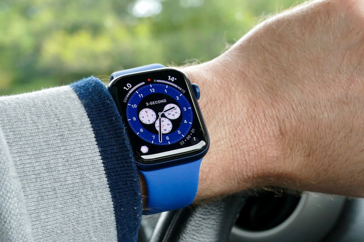 Apple Watch Series 6 with blue Sport Band.