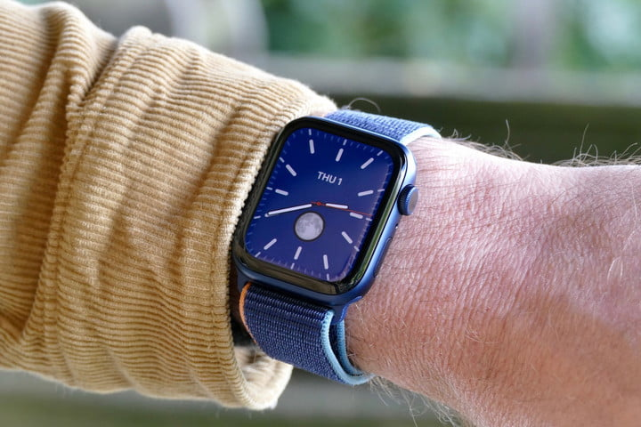 The Apple Watch Series 6 on the wrist.