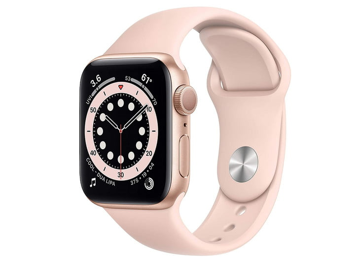 The 40mm Apple Watch Series 6 with a gold aluminum case and a pink sand sport band.