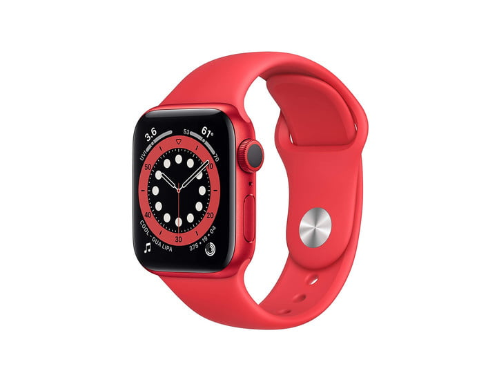 Apple Watch Series 6 with red aluminum case and red sport band.