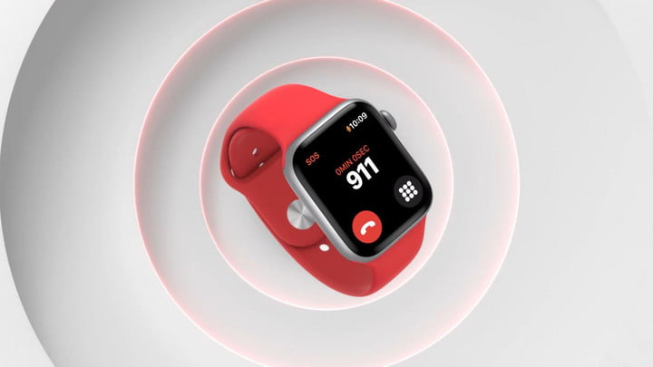 Apple Watch Series 6 smartwatch in red on a white textured background.