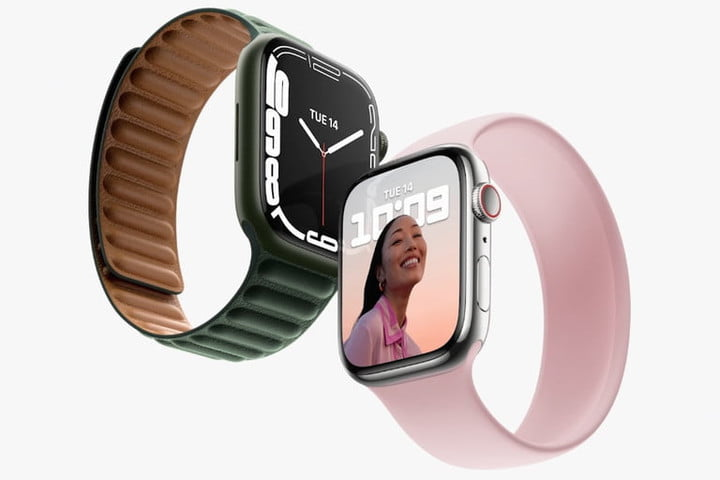 Apple Watch Series 7 showing gray and pink sport bands.