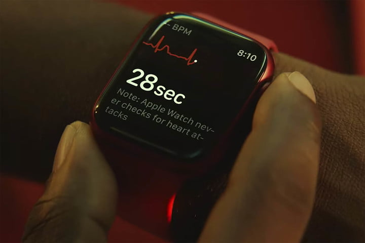 Person checking heart rate on the all new Apple Watch Series 7.