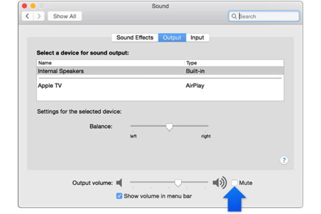 The Apple audio options menu with a blue arrow pointing to the mute button.