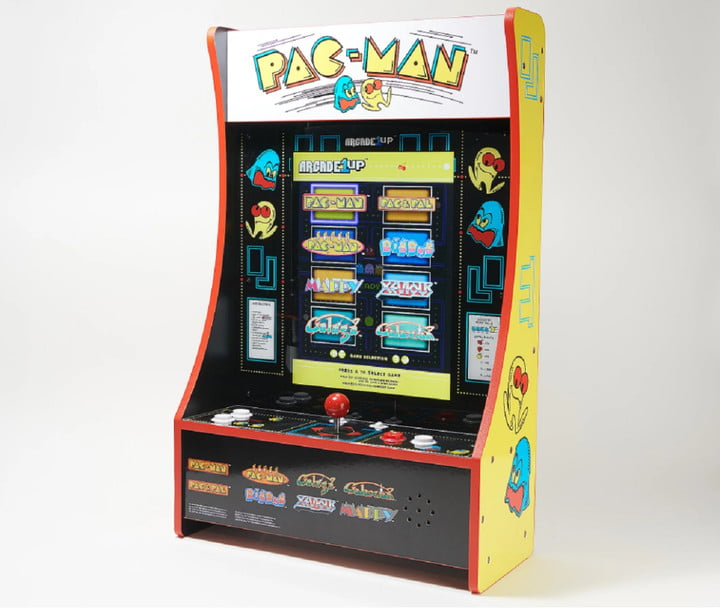 A portable home arcade machine that shows eight games on the screen.