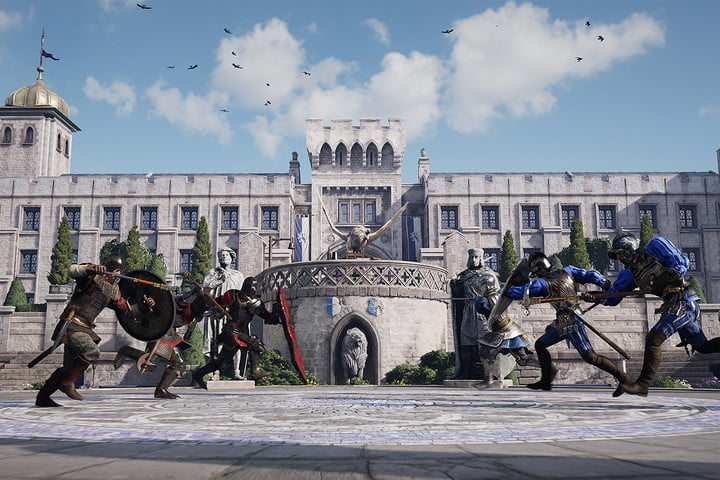 Players charge at each other in Chivalry 2's Arena mode.