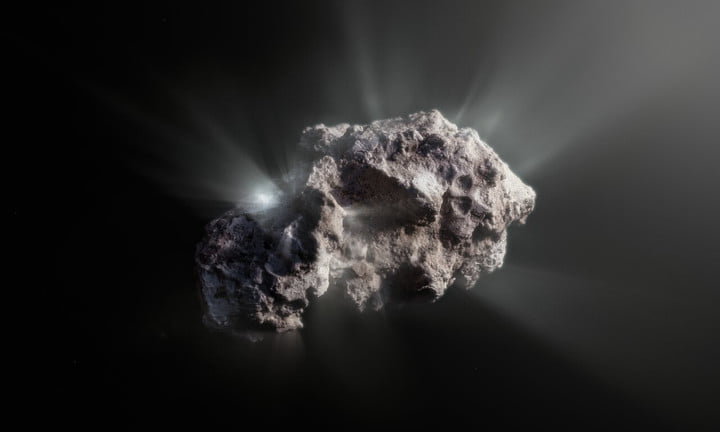 This image shows an artist's impression of what the surface of the 2I/Borisov comet might look like.