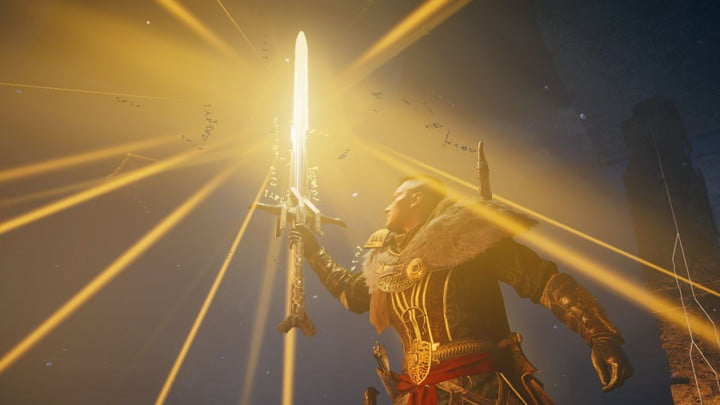 Player holding Excalibur in Assassin's Creed Valhalla.