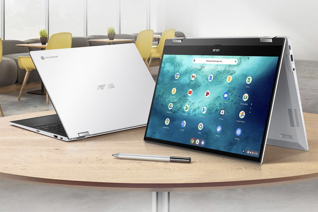 Two Asus Chromebook Flip C536's sitting on a desk displaying different ways it can be folded.