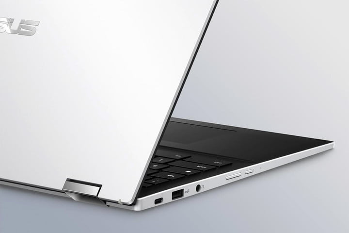 Close up image on the headphone jack and USB & micro USB ports on the Asus Chromebook Flip C536.