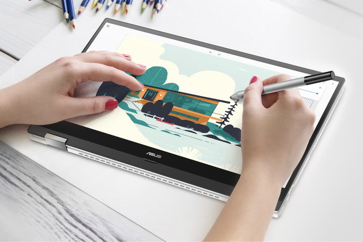Person using a stylus on the Asus Chromebook Flip C536.