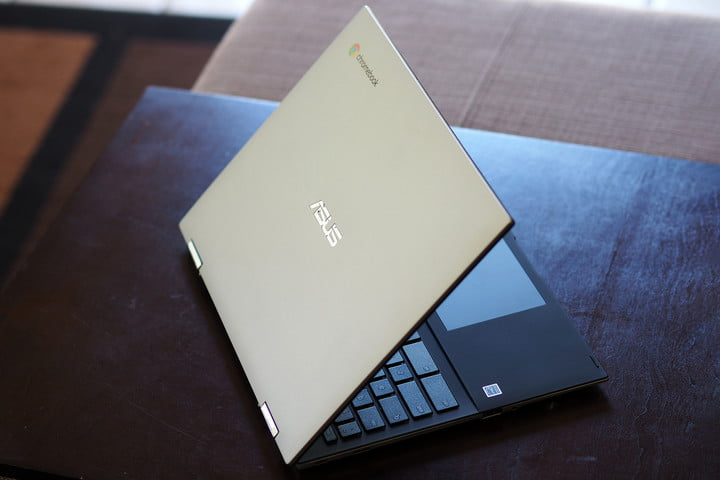 Angled view of the Asus Chromebook Flip CM3 sitting on table top.