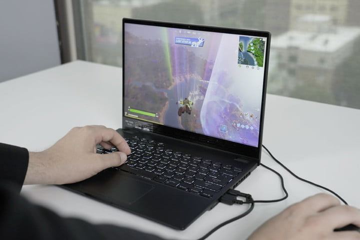 Playing Fortnite on the ROG Flow X13.