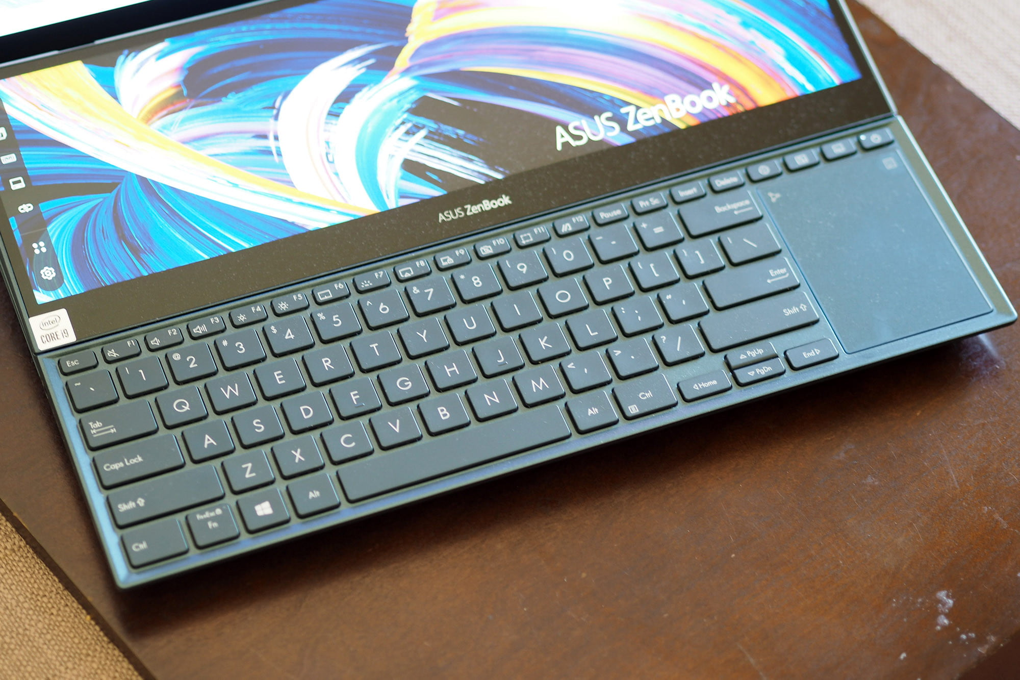 Close up on Asus ZenBook Pro Duo 15's keyboard.