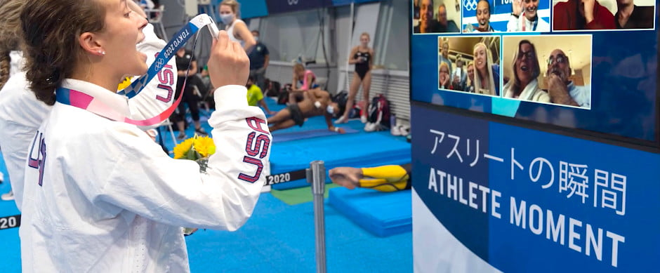 winning olympians enjoy a zoom moment straight after victory athlete  tokyo 2020