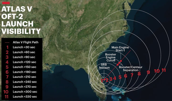 Atlas V OFT-2 launch visibility map.