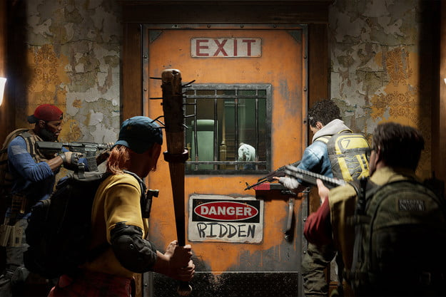 Players look out of a saferoom door in Back 4 Blood.