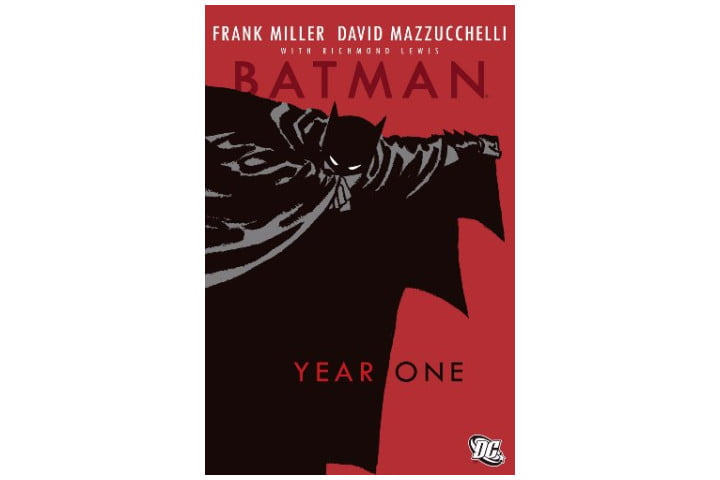 Photo shows a red cover with the title Batman: Year One and a black picture of Batman