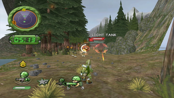 Soldiers prepare to fight in the wilderness in Battalion Wars.