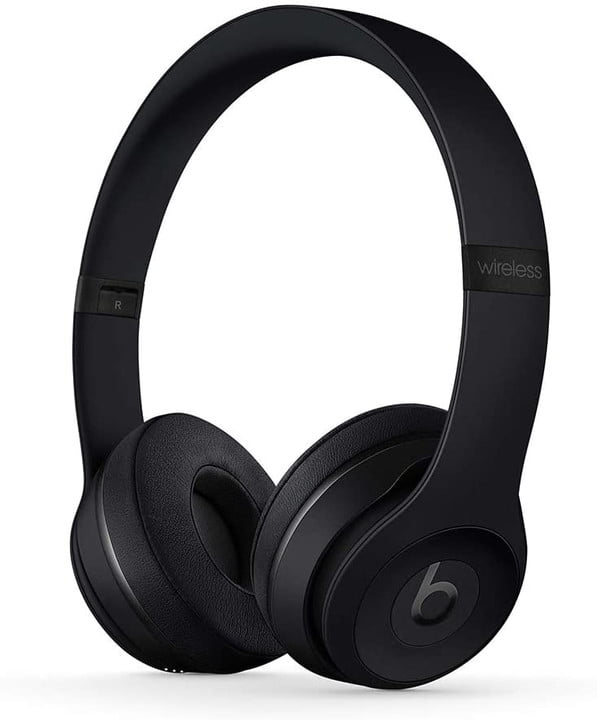 beats solo3 wireless headphones black on a white background