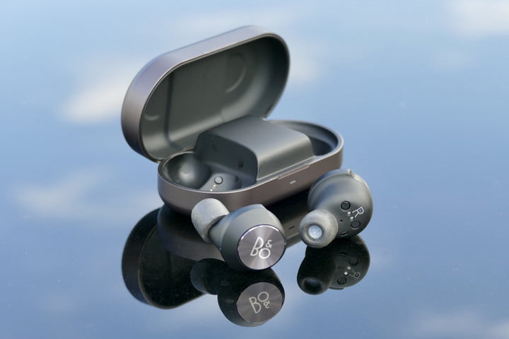 The Beoplay EQ case open with both earbuds removed.