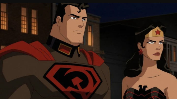 The Soviet version of Superman standing next to Wonder Woman in Superman: Red Son.