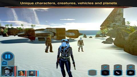 Star Wars: Knights of the Old Republic character on a beach.