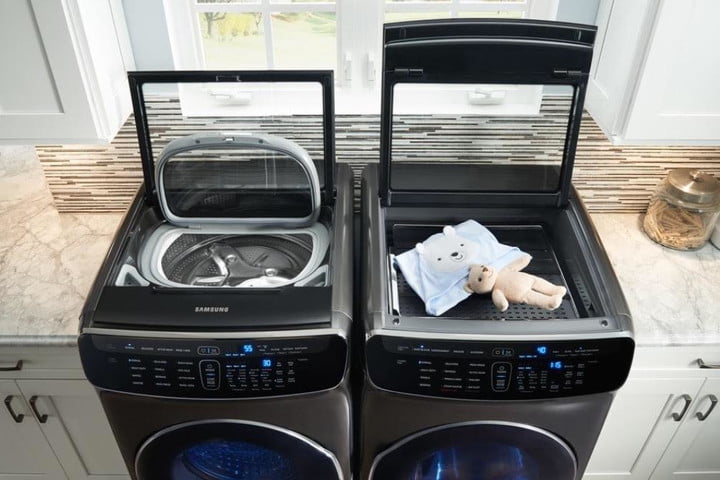 The Samsung Flexdry in a laundry room.