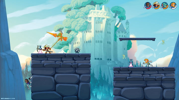 Cartoony fighters duke in out on a castle map in Brawlhalla.