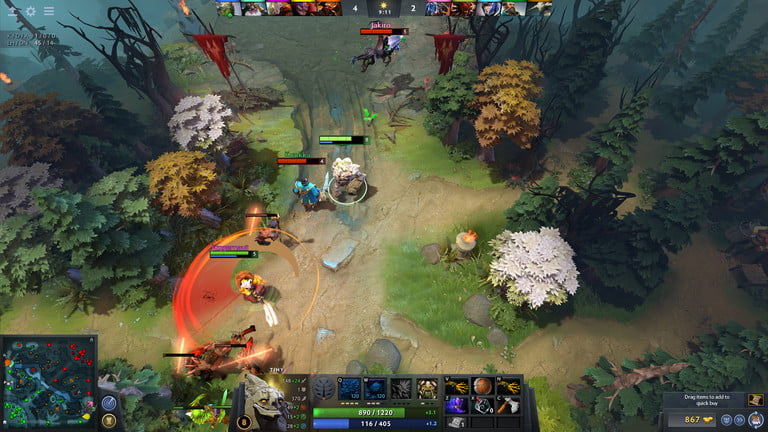 Players attacking in DOTA 2.