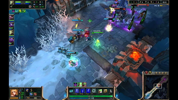 Champions fighting in League of Legends.
