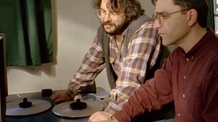 Peter Jackson in an editing room in Forgotten Silver.