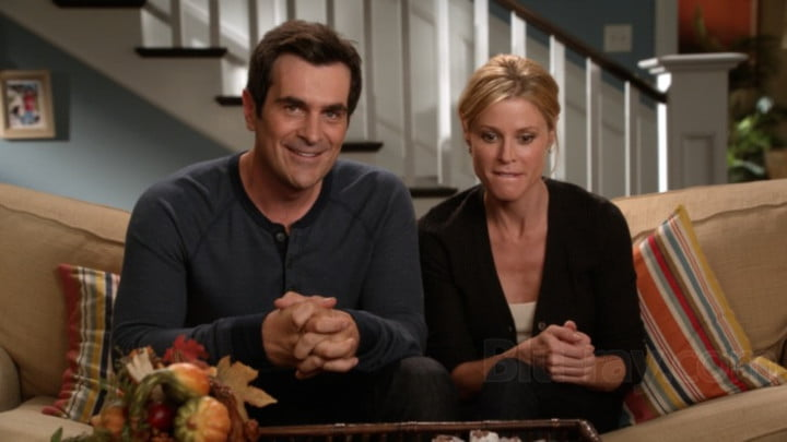 Ty Burrell and Julie Bowen in Modern Family.