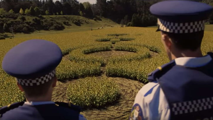 The cops in Wellington Paranormal looking at crop circles.